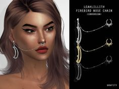 The Sims 4 LeahLillith FireBird Nose Chain The Sims 4 Pc, Sims Four, Sims Cc, Sims 4 Mods Clothes, Sims 4 Clothing, Sims 4 Piercings, Sims 4 Dresses, Sims 4 Characters, Sims 4 Toddler