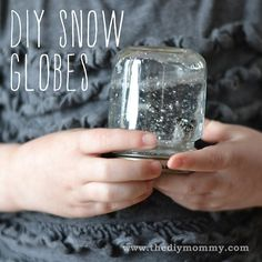 "@valeriejtaylor's photo: ""Snow Day Craft Project From: Www.thediymommy.com  Materials: clean baby food jar & lid plastic toys that are small enough to fit in the jar coarse glitter water glue gun  #snow #snowglobe #globe #ValerieJTaylor #TheTayloredLife"