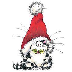 New Penny Black Jolly Xmas Kitty Stamp Christmas Cat Santa Hat Holidays Christmas Animals, Christmas Cats, Christmas Pictures, Christmas Time, Vintage Christmas, Merry Christmas, Christmas Cookies, Watercolor Christmas Cards, Christmas Drawing