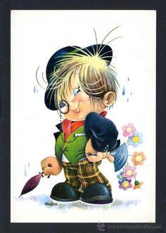 Ilustrador *A. Gabriel*  Ed. C. y Z. nº 6692. Nueva. Gabriel, Baby Boy Quotes, Art Carte, Art Vintage, Cute Clipart, Glitter Cards, Children's Book Illustration, Big Eyes, Fabric Painting