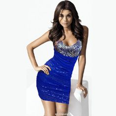 D dark blue dress with sparkly detail on top