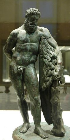 Hercules (Heracles), Roman statuette (bronze) copy of Greek original by Praxiteles, 1st–2nd century AD, (Musée du Louvre, Paris).