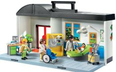 Playmobil Take Along Hospital by PLAYMOBIL. $34.99. Playmobil is the largest toy manufacturer in Germany. Encourages children to explore and learn while having fun. Figures can bend, sit, stand and turn their heads. Includes 4 figures, wheelchair, medical equipment, and many other accessories that can be stored in the hospital. Treat the patients on the go with the Playmobil Take Along Hospital. From the Manufacturer                Playmobil Take Along Hospital...