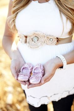 hmmm....create a floral sash for maternity, and then the baby can wear the pretties once they are born.