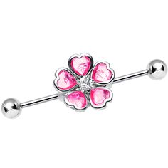 Pink Blossoming Flower of Hearts Industrial Barbell