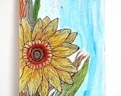 Yellow Sunflower - Watercolor painting on paper - 9x12in