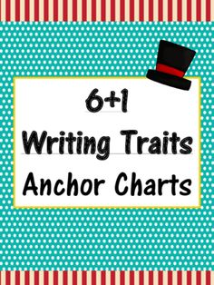 6+1 Writing Traits  Anchor Charts Signs/Posters (Carnival Themed/Turquoise) from MiMi Sue Can Read on TeachersNotebook.com (9 pages)