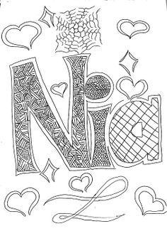"""Name Print Design of the name, """"Nia"""" by Nia Holden."""