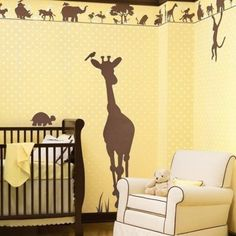 Fancy Wall Painting Design Idea For Nursery Room With Cream Wallw Ith Brown Deer Motive, White Sofa, And Brown Crip