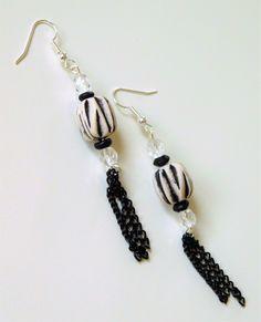 Long earrings, Statement Boho earrings, Unique Bohemian earrings, Long beaded earrings, Ethnic Hippie earrings, Handmade jewelry for her. by handmadebystrawb on Etsy