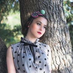 GREY polka dots shirt with black velvet tying  van jenfashion op DaWanda.com