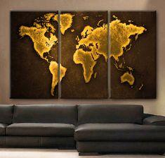 "Huge 3 Panels framed 1.5"" depth Art Canvas Print beautiful World Map Color Gold travel nursery Wall home office decor interior"