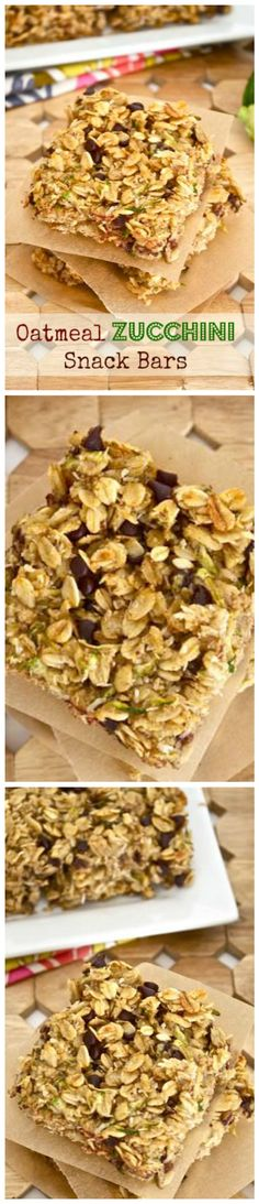 Oatmeal Zucchini Snack Bars are packed with rolled oats and zucchini, and are completely gluten free!