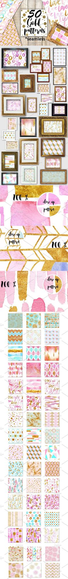 50 gold and pink seamless patterns!. Wedding Card Templates