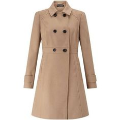 Camel Double Breasted Coat (£59) ❤ liked on Polyvore featuring outerwear, coats, jackets, tops, coats & jackets, double breasted coat, miss selfridge coat, miss selfridge, beige coat and camel coat