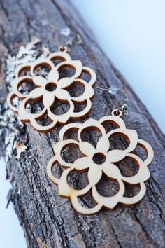 Flower Filigree Laser Cut Wood Earrings / Vintage by Lubawastyle