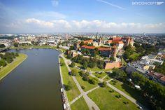 Wzgórze Wawel z lotu ptaka - Wisła, Zamek Królewski oraz Katedra Wawelska