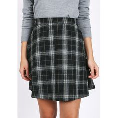 Ruche Day School Plaid Swing Skirt (42 CAD) ❤ liked on Polyvore featuring skirts, black, circle skirt, gathered circle skirt, plaid circle skirt, plaid skater skirt and plaid skirt