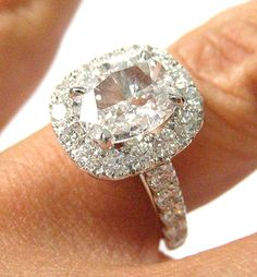 Items similar to Reserved....3.25ct Antique Vintage CUSHION Diamond Engagement Ring in White Gold on Etsy Finger Curls, Beautiful Rings, Pretty Rings, Cushion Cut, Cushion Diamond, I Love Jewelry, Jewelry Box, Jewelery, Diamond Rings