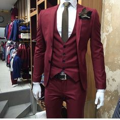 2017 Latest Coat Pant Designs Burgundy Wedding Men Suit Slim Fit 3 Piece Tuxedo Custom Groom Blazer Prom Suits Terno Masuclino X