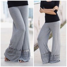 New Arrival • Beautiful Crochet Trim Palazzo Pants You will love these beautiful palazzo pants which are comfy and flattering. Heather gray  and black roll over waistband . Nwot sizes S M L  , I love the crochet panel detail on the bottom . Wear them with flat sandals or wedge for a funky updated look . Vivacouture Pants