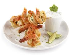 Scampigrillspyd med korianderdip Shrimp, Meat, Cilantro