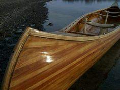 Thinking of making a wood canoe similar to this during the winter. Wood Canoe, Canoe Boat, Canoe And Kayak, Wood Bin, Wood Boats, Birch Bark, Boat Building, Rowing, Madeira