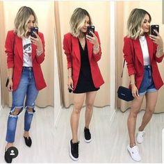 Looks com blazer vermelho Jeans and red blazer – Short mom Jeans and red blazer – Black skirt and red Blazer Outfits Casual, Blazer Fashion, Fashion Outfits, Dress Outfits, Mode Outfits, Fall Outfits, Summer Outfits, Look Blazer, Dress With Blazer