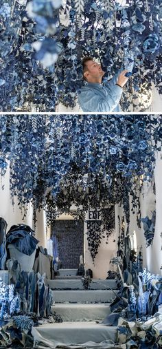 Aptly titled Secret Garden, this nature-inspired installation features a wide variety of denim flowers, plants, and butterflies.