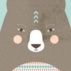 Affiche Animal protecteur Ours par LupoPowerAnimals sur Etsy