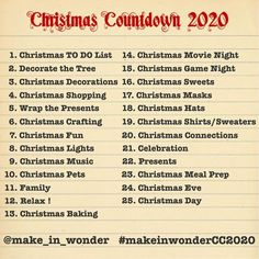 """Make-in-Wonder on Instagram: """"While I was busy with my preparations for my Christmas Countdown mini-album, I made a list of things that I could photograph for my pages…"""" Christmas To Do List, Christmas Movie Night, Christmas Sweets, Christmas Hat, Christmas Games, Christmas Countdown, Christmas Crafts, Christmas Decorations, Lists To Make"""