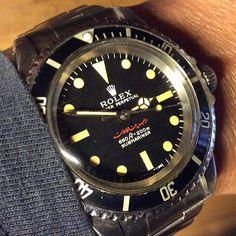 """Rolex 5513, Submariner, no date, with dial for Hafiz al-Hassad, 1972. #rolex #rolexero #arabicdial #rolex5513#5513#goldberger#vintagerolex…"""