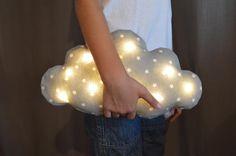 Coussin veilleuse bébé enfants , lampe nuage à leds, tissu gris avec des étoiles blanches, dehoussable. : Linge de lit enfants par chuchoti