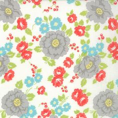 Happy Go Lucky - Garden - White 55061 18  by Bonnie and Camille for Moda -- Quilt Fabric 1/2 Yard BTY