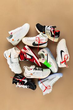 "Virgil Abloh's approach to his ""The collection with Nike was simple. The eclectic designer actualized his desire to augment Nike's ""handmade"" quality and hone in on the ""human element and emotional connection"" to each of the ten iconic silhouettes. Best Sneakers, Casual Sneakers, Sneakers Fashion, Shoes Sneakers, Men's Shoes, Fashion Outfits, White Nike Shoes, Off White Shoes, White Nikes"