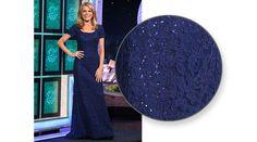 LA FEMME Navy blue re-embroidered lace gown enhanced w/sequins, round neckline, cap sleeves, flared hemline w/train | Vanna White's dresses | Wheel of Fortune