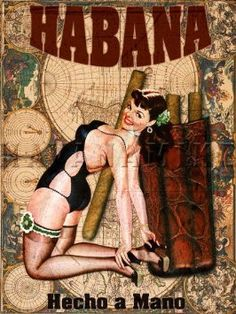 Amazon.com: Pinup CUBAN Cigar Girl Vintage Poster Cuba Tobacco Photo Print ART 18x24 Havana Map: Home & Kitchen