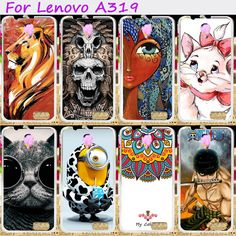 Hard Plastic&Soft TPU Silicones Phone Cover For Lenovo A319 A 319 Cases Cool Skull Loving Minions Flower Accessories Hood