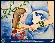 Merit Award Winner, Jing Guo, from China (Zhejian Chun Feng Lions Club) - Lions Clubs International Peace Poster Contest Peace Poster, Poster On, Lions Clubs International, Drawing Competition, Oil Pastel Paintings, Acrylic Painting Techniques, Creative Posters, Mothers Day Crafts, Poster Making