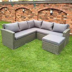 HGG Rattan Corner Sofa Set - Grey Wicker Weave - Outdoor Garden Patio Furniture