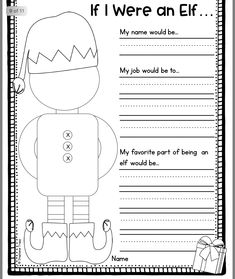 christmas activities If I were an Elf free printable sheet for children to use during the holidays. Get in the spirit of Christmas with this fun and creative kids activity. Creative Activities For Kids, Writing Activities, Classroom Activities, Classroom Ideas, Creative Kids, Therapy Activities, Future Classroom, Preschool Themes, Language Activities