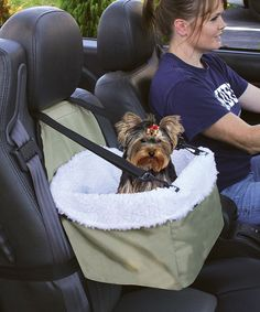 Take four-legged friends along for the ride! Easy to install in any model of car, this booster seat boasts a removable faux sheepskin lining and has an attached safety leash that keeps pets in place. A zipper front compartment is perfect for treats or toys.13'' W x 8'' H x 10.5'' DHolds pets up to 20 lbs.Polyester / nyl...