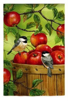 Autumn Harvest Chickadee & Barrel of Apples Fall Lg House Flag Evergreen for sale online Fall Garden Flag, Garden Flags, Watercolor Bird, Watercolor Paintings, Decoupage, Apple Baskets, Motifs Animal, Apple Art, House Flags