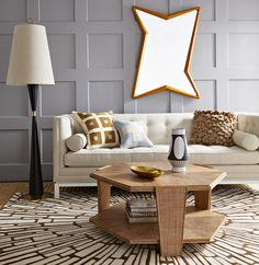Jonathan Adler Shows Off This Rustic Midcentury Modern Living Room Complete  With The Linen Lampert Sofa