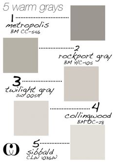 Twilight Gray for main house color Warm Gray Paint Colors for Walls and Cabinets. Metropolis CC-546 Benjamin Moore. Rockport Gray HC-105 Benjamin Moore. Twilight Gray SW 0054 Sherwin Williams. Collingwood OC-28 Benjamin Moore. Sibbald CLW 1036W. #WarmGray #WarmGrayPaintColors #BenjaminMoorePaintColors Via Callooh Callay.