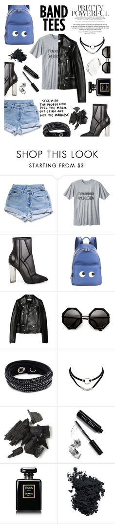 """Hard One Direction"" by feiartus ❤ liked on Polyvore featuring Levi's, Steve Madden, Anya Hindmarch, Yves Saint Laurent, Swarovski, Bobbi Brown Cosmetics, Chanel, Christian Dior and bandtees"