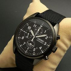 black seiko chronograph with canvas band
