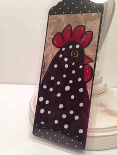Bookmark hand drawn original art whimsical rooster by FancyTweets
