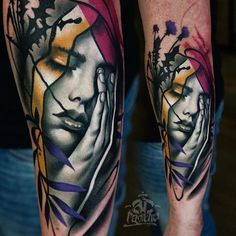 Mixing realistic art with creative effects, A.D Pancho creates painterly colorful tattoos that'll make you want to get inked.