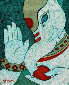 Acrylic Hindu Painting - Blessing for You | NOVICA